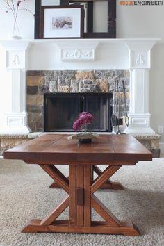 DIY Lybrook Coffee Table -Free DIY plans | rogueengineer.com #LybrookCoffeeTable  #DiyLivingroom