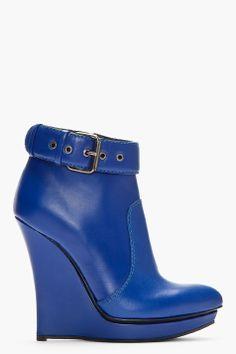 MCQ ALEXANDER MCQUEEN //  Blue Leather Slim Wedge Biker Boots