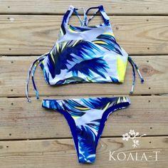 Reversible Crisscross Tie Back High-Neck Crop Top Blue Floral Brazilian Cut Bikini