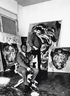 "tornandfrayed: ""Dutch painter Karel Appel in his studio, with Miles Davis. Tachisme, Famous Artists, Great Artists, Dutch Painters, Miles Davis, Artistic Photography, Art Studios, Belle Photo, Artist At Work"