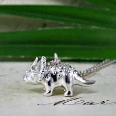 ❤️ | A fantastic chunky solid silver triceratops pendant designed Alexis Dove and made in our Lewes workshops