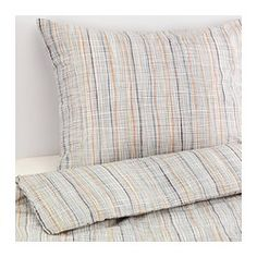 VÅRÄRT Duvet cover and pillowcase(s) - Full/Queen (Double/Queen) - IKEA $40 [need duvet insert... add navy/charcoal/orange coverlet?]