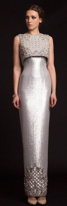 Krikor Jabotian Spring 2015 silver gown // Pinned by Dauphine Magazine x Castlefield - Curated by Castlefield Bridal & Branding Atelier and delivering the ultimate experience for the haute couture connoisseur! Dauphine Magazine (luxury bridal and fashion crossover): www.dauphinemagazine.com, @dauphinemagazine on Instagram, and @dauphinemag on Pinterest • Visit Castlefield: www.castlefield.co and @ castlefieldco on Instagram / Luxury, fashion, weddings, bridal, style, art, design, jewelry…