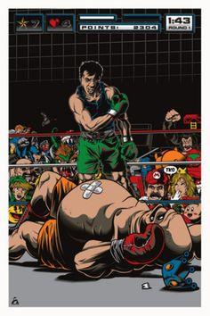 Punch-Out! Fan Art by Based on Famous 1965 Ali vs Liston Photo. Que tiempos! Classic Video Games, Retro Video Games, Video Game Art, Retro Games, Mohamed Ali, Superman, Batman, Little Mac, Nintendo Sega