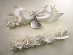 Beach Wedding Garter Set in Ivory Satin with Rhinestone Starfish and Personalized Engraving