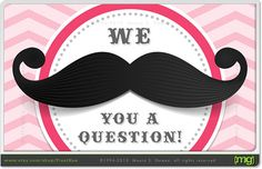 Mustache Bash Party Invitation for Girls  Custom by PixelHue, $20.00