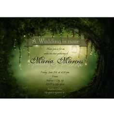 Enchanted Romantic Dreamy Forest Rustic Wedding Bridal Party Invitation