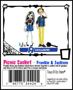 """Frankie Stein & Jackson Jekyll Picnic Casket Toys """"R"""" Us Exclusive Monster High Dolls 2-Pack, 2014 ($30 at ToysRUs.com. I bought this set on sale for $20.)"""