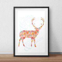 BUY 1 GET 1 FREE* Geometric Deer *Digital Printable 5x7, 8x10