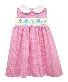 Look at this Betti Terrell Pink Smocked Octopus Dress - Toddler & Girls on #zulily today!