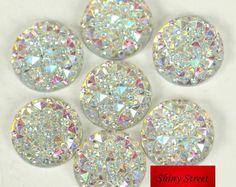14mm 12mm 16mm Crystal AB Colors Round Sew On Rhinestones Flatback Resin Sewing Rhinestone