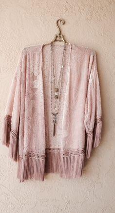 Image of Dusty Blush pink silk velvet Kite and butterfly fringe kimono
