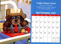 Teddy bear tissue box with pattern