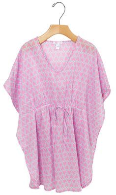 Stella Cove | Hearts In Pink On Light Blue Cotton Poncho/ Kaftan