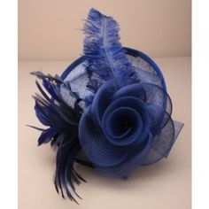 The Perfect Accessory - Hatinators Navy Fascinator, Headpiece, Hessian Flowers, Wedding Fascinators, Prom Flowers, Black Headband, Blue Feather, Lace Bows, Love Clothing
