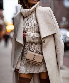 casual outfits for women ~ casual outfits ; casual outfits for winter ; casual outfits for work ; casual outfits for women ; casual outfits for school ; casual outfits for winter comfy White Coat Outfit, White Sweater Dress, Neutral Outfit, Beige Outfit, Sweater Dress Outfit, Sweater Outfits, Winter Outfits For Teen Girls, Fall Winter Outfits, Winter Ootd