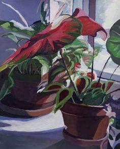"Betty-Ann Hogan: Big Red Leaves, acrylic paint mounted on birch wood 22""x17"""