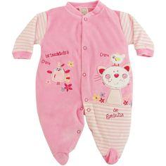 Macacão em Plush Gatinha para Bebê Menina - Patimini :: 764 Kids | Roupa bebê e infantil
