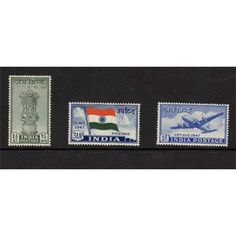 India, First Stamps of Independence from British, Set of 3 Mint 1947