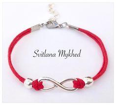 """Bracelet """"Infini"""" cordon coton rouge (réglable). metal argentè . : Bracelet par perles-et-couronnes"""
