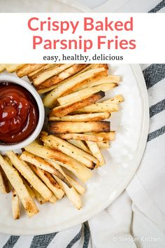 These crispy roasted parsnip fries will be your new favorite side dish! Easy to make packed with nutrients and delicious. This healthy recipe from Slender Kitchen is MyWW SmartPoints compliant and is gluten free vegetarian Healthy Side Dishes, Side Dish Recipes, Oven Recipes, Party Recipes, Meal Recipes, Fruit Recipes, Summer Recipes, Holiday Recipes, Healthy Baking