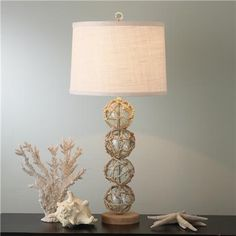 Nautical Rope and Glass Ball Table Lamp
