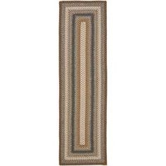 @Overstock.com - Hand-woven Country Living Reversible Brown Braided Rug (2'3 x 8') - This attractive woven rug, with its eye-catching geometric pattern and traditional colors, adds subtle accents to your favorite room. The casual style allows it to blend easily into a room's overall design.  http://www.overstock.com/Home-Garden/Hand-woven-Country-Living-Reversible-Brown-Braided-Rug-23-x-8/5756923/product.html?CID=214117 $59.99