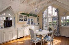 Country Living Made Beautiful   Beautiful Toile In this French Country Kitchen.
