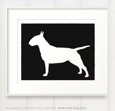Mod Bull Terrier Silhouette Art Print