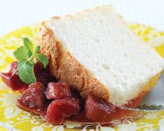 Angel Food Cake with a Hint of Orange and Roasted Rhubarb Compote LCBO Food & Drink | Early Summer 2009