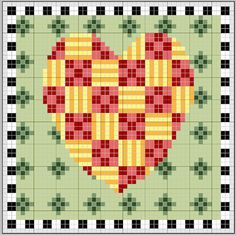 free cross stitch chart patchwork heart very Mary Engelbreit inspired st valentine
