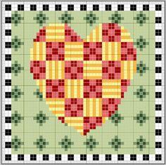 free cross stitch chart patchwork heart very Mary Engelbreit inspired st valentine