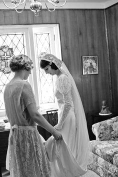 1930s vintage wedding ensemble ... looks like a waltz or sweep length veil.