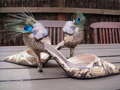"""""""Peacock Feather Shoe Clips"""" using peacock feathers and clip-on earrings."""