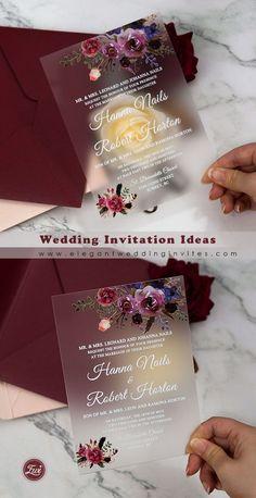 Custom Floral Frosted Acrylic Wedding Invitations EWIA007 for Fall Burgundy Weddings