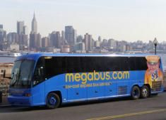 Megabus - Influenster.com Saw these in NYC. Good option for day trips, etc