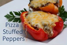 Quick & Easy Pizza Stuffed Peppers (7 Weight Watchers Points Plus Values for 2 halves!)
