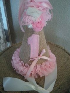 Birthday Party Hat First Birthday Second Birthday Burlap and Pink Rosettes Birthday Party Hats, Baby Girl Birthday, Baby Birthday, First Birthday Parties, First Birthdays, Birthday Ideas, Shabby Chic Birthday, Little Doll, Childrens Party