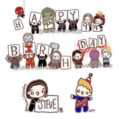 Happy Birthday, Steve!!!! #fourthofjuly #4thofjuly #captainamerica #steverogers #happybirthdaysteverogers #mintmintdoodles #avengers