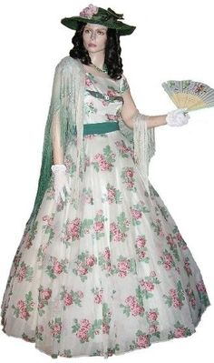 Mid Victorian / Southern Belle Gown  Floral print gown