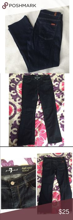 7 For all Mankind Jeans 7 for all mankind. Dark wash bootcut jeans size 30. Excellent condition, bottoms were hemmed. Inseam is 27 inches! Great jeans! 7 For All Mankind Jeans Boot Cut