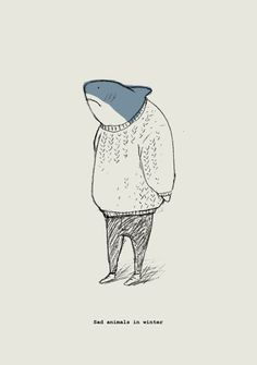 Sad animals in winter. Source: tydnew this is so adorable and amusing!!!