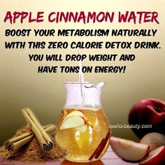 One apple sliced into a pitchure of water. One cinnimon stick in water. Cover with ice.