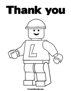 Thank you lego card. Free printable. Save as PDF, print in booklet form to get card.