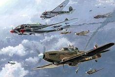 The Defiant Day- May 31 1940, by Howard Gerrard (Boulton Paul Defiant vs He 111)