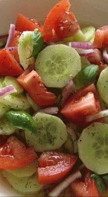 ingredients: 3 medium cucumbers, peeled and sliced inch thick 1 medium onion, sliced and separated into rings 3 medium tomatoes, cut into wedges cup vinegar cup sugar 1 cup water 2 teaspoons salt 1 teaspoon fresh coarse ground black pepper Marinated Cucumbers, Cucumbers And Onions, Cucumber Tomato Salad, Cucumber Recipes, Cucumber Salad Vinegar, Cucmber Salad, Vinegar Cucumbers, Fresh Tomato Recipes, Avocado Salad Recipes