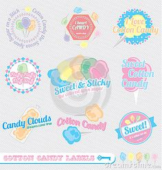 Vector Set: Retro Cotton Candy Labels Stock Photos - Image: 27310213