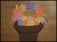Easter basket hand cutouts