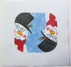 18 Ct Snowman w/Glasses Eyeglass Case Handpainted Needlepoint Canvas #Unbranded