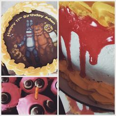 Five nights at freddy's cake.  Got the top of the cake from Etsy. The eyes on the cupcakes made from mini oreos and chocolate chips. So easy.